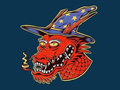 Dragon Wizard joe tamponi doodles japanese skateboarding art illustration design punk rock smoking wizard dragon