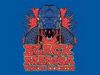 Black Mamba x Venom Cookies skateboard graphics california skateboarding art punk rock skateboard art joe tamponi cookies label design doodles drawing artwork art spooky creepy black mamba mamba snake illustration