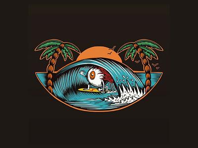 Surfing Eyeball creepy old school ocean wave palm trees cartoon sun skate skateboard graphics beach surf summer skateboarding art punk rock design california illustration joe tamponi eyeball surfing