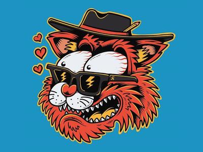 Love Cat beach summer illustrator artist sun sunglasses joe tamponi comic art comics cartoon 90s ink art illustration drawing punkrock kitty cats cat love