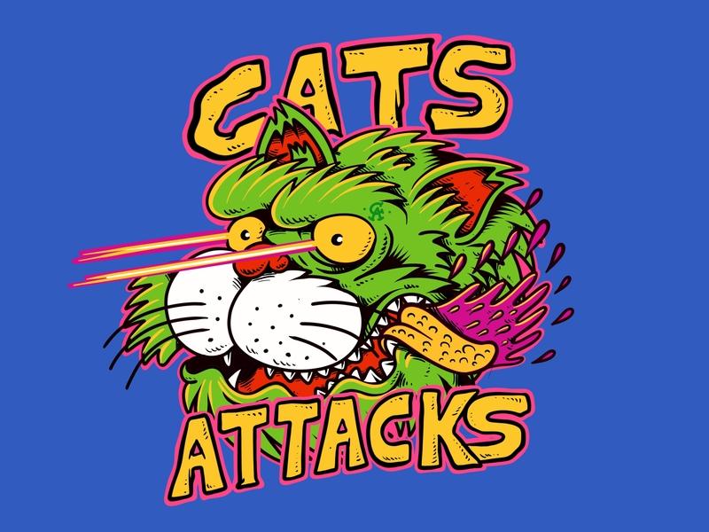 Cats attacks! laser 80s vintage b movie destroy alien joe tamponi cartoon skateboard graphics surf beach summer skateboarding art california punk rock design illustration cat drawing cats cat