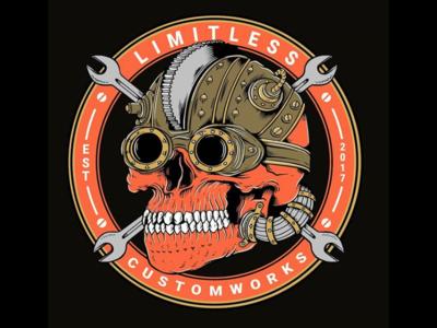 Limitless Customworks logo horror t shirt skeleton skull artwork custom art cyber punk post punk post apocalyptic skateboarding art vector joe tamponi skate california cartoon logo skateboard graphics punk rock design illustration