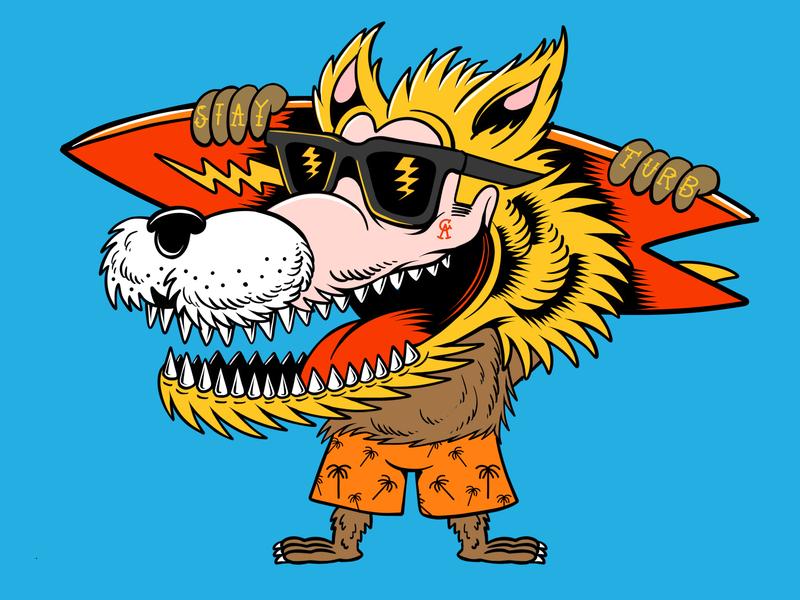 Blonde Wolf  - Drawn By Joe Tamponi branding sun cartoon surf skate joe tamponi skateboard graphics beach summer skateboarding art california punk rock design illustration