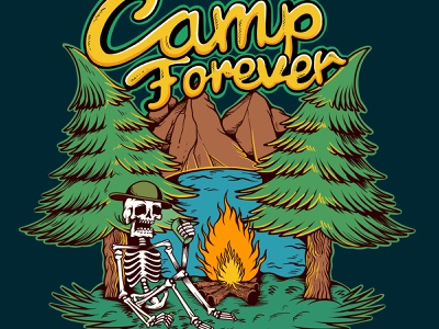 Camp Forever    Drawn By Joe Tamponi skeleton skull logo flat joe tamponi sun skate cartoon surf skateboard graphics beach summer skateboarding art california punk rock design illustration camp fire camping camp