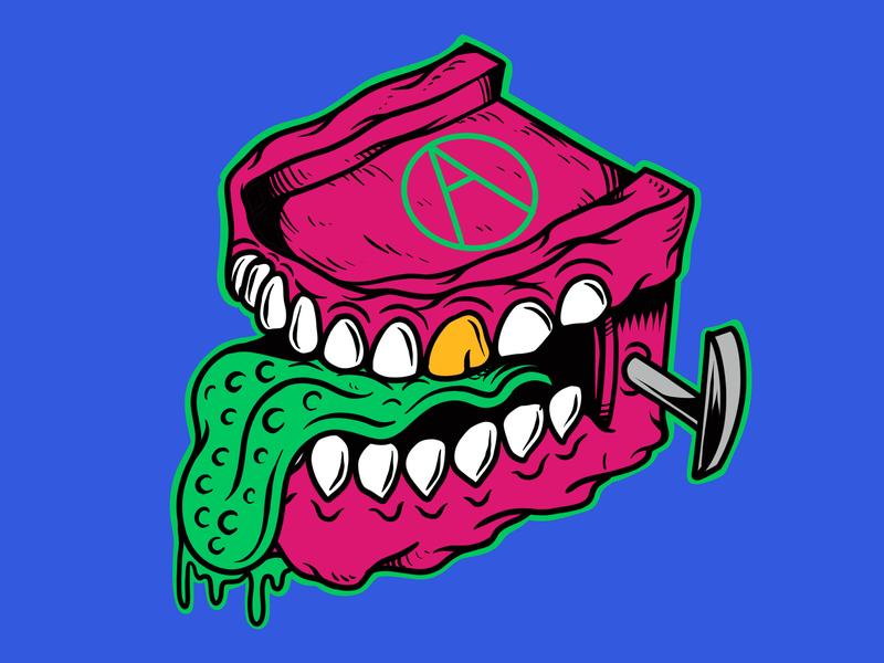 Chattering Teeth   Killer Denture   Drawn By Joe Tamponi   Creep doodles creepy drawing skeleton palm trees skull teeth joe tamponi sun skate cartoon surf skateboard graphics beach summer skateboarding art california punk rock design illustration