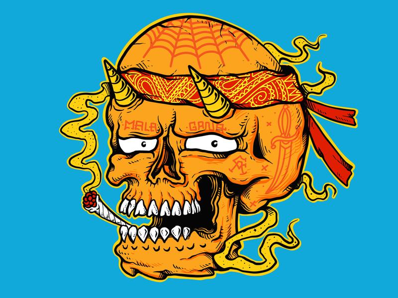 Chicano   Drawn By Joe Tamponi   Creepy   Funny Llustrations Ins los angeles street chicano surf skeleton drawing joe tamponi sun skate cartoon skateboard graphics beach summer skateboarding art california punk rock design illustration
