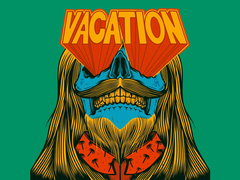 Vacation - drawn by Joe Tamponi ocean doodles creepy drawing typography surfing palm trees skeleton logo joe tamponi skateboard graphics beach summer skateboarding art california punk rock design illustration skull vacation