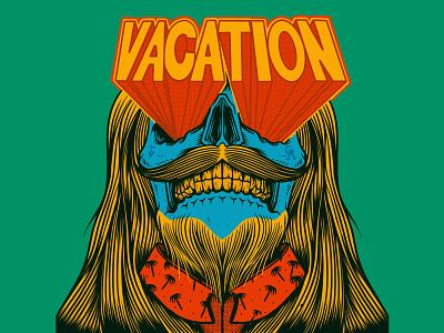 Vacation - drawn by Joe Tamponi ocean doodles creepy drawing typography surfing palm trees skeleton logo joe tamponi skateboard graphics beach summer skateboarding art california punk rock design illustration skull vacation