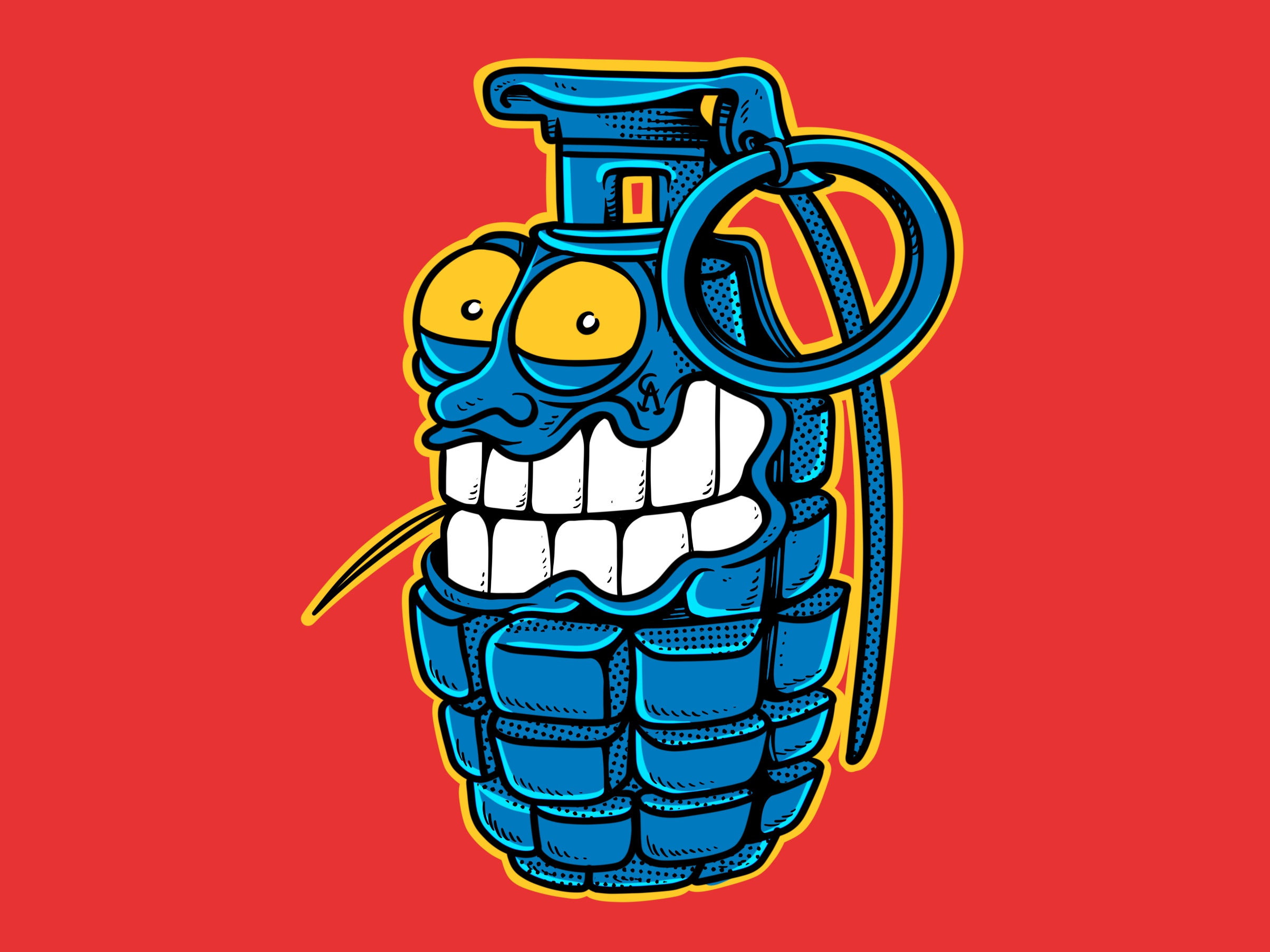 Grenade and toothpick   drawn by joe tamponi