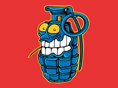 Grenade And Toothpick - drawn By Joe Tamponi skate surf branding joe tamponi illustration design summer skateboard graphics beach california skateboarding art punk rock comic book cartoon illustration cartooning cartoon character comic cartoon toothpick grenade