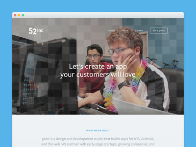 New 52inc studio agency responsive redesign ui web design website