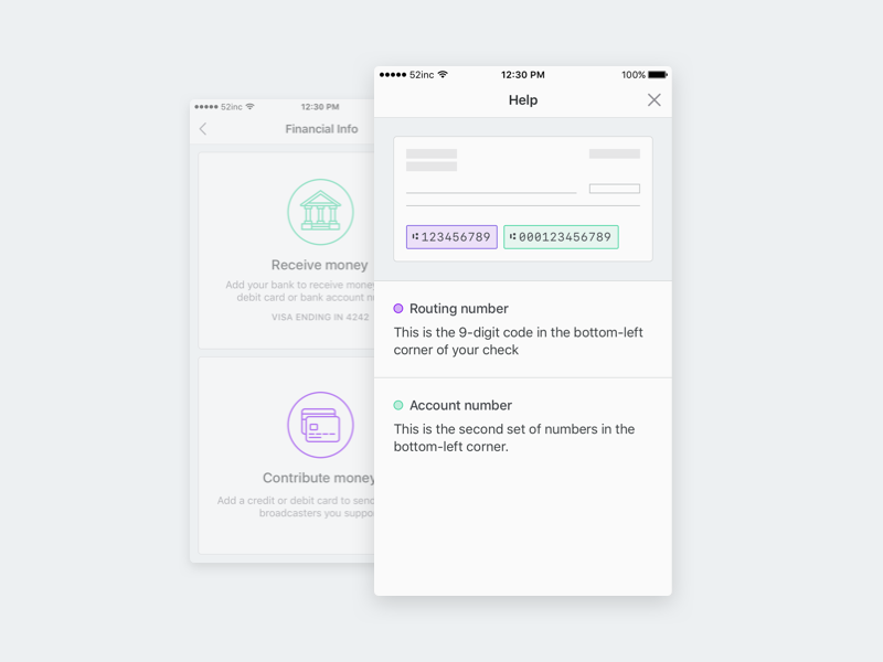 Add your bank routing number banking bank funding live livestream iphone ios crowdfunding broadcast app ui