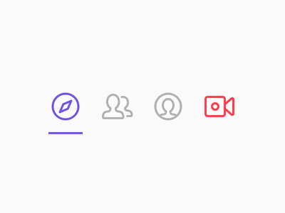 Tab bar icons tab bar vector stroke iconography icons livestream ios crowdfunding broadcast app ui