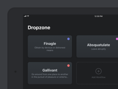 Dropzone tablet tablet dropzone workflow automation drag and drop ios 11 dark ui