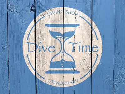 diving shop DIVE TIME logo logo okinawa diving sign