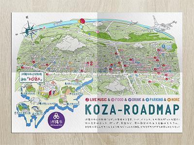 KOZA-ROADMAP handdrawing map okinawa japan