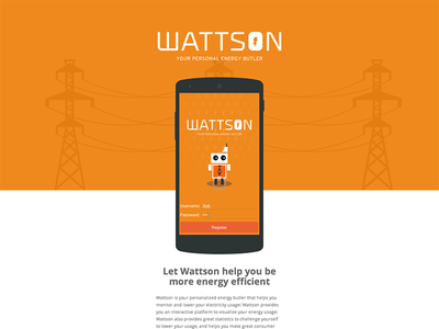 Wattson application site  icons website branding flat flat design app android app