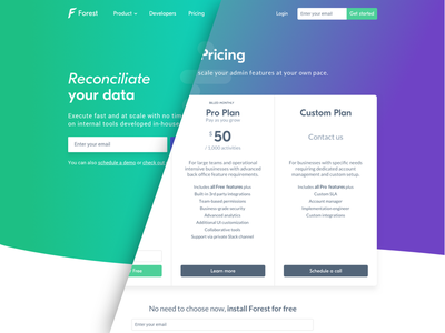 Forest Admin - Pricing Page landing page table pricing page webpage pricing dashboard admin back office forest
