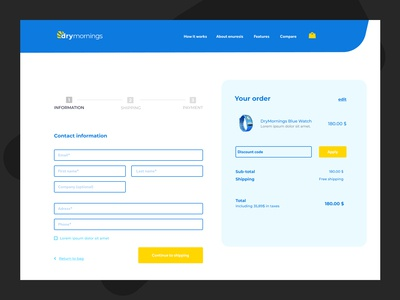 DryMornings Checkout page