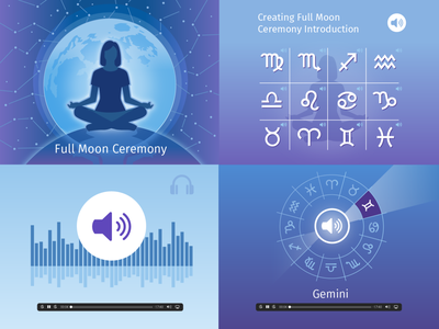 Full Moon Meditation course full moon meditation icon ui ux logo flat branding vector illustration design