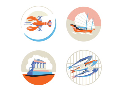 crooked trails marketing seafood junk acropolis parthenon lobster icon ui ux logo flat branding vector illustration design