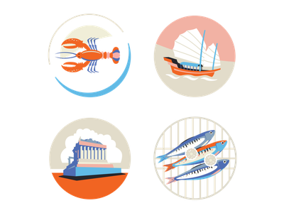 crooked trails marketing app design sailing ship app mediterranean sailing cuisine seafood junk acropolis parthenon lobster icon ui ux logo flat branding vector illustration design