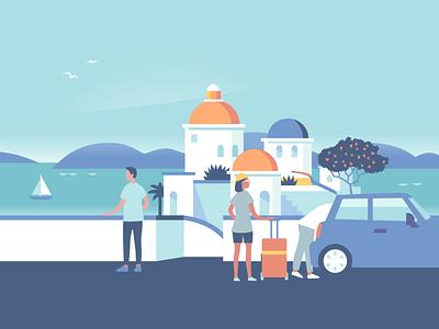 Travel collection – Greece honeymoon greek island santorini sailboat reservation hotel sailing vacation greece mediterranean travel icon ui ux logo flat branding vector illustration design