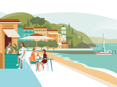 Travel collection – Cinque Terre bistro cafe italianriviera vernazza sailing sailboat web mediterranean cinque terre travel vacation italy ui ux logo flat branding vector illustration design