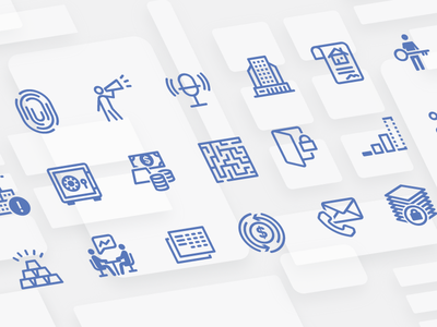 Icons for a financial product software financial finance ui ux logo flat branding vector illustration design