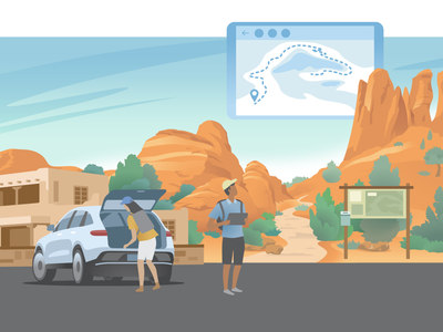Travel Collection – Canyonlands suv adventure vacation nature trail trails recreation outdoors hiking zion canyonlands ui ux flat branding vector illustration design