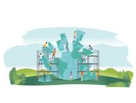 The Laws of Life teamwork teams build unity progress team environment globe building cooperation ui ux logo flat branding vector illustration design