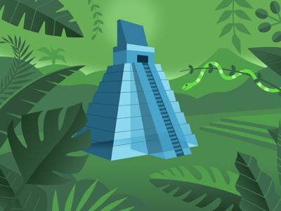 Tikal jungle scene snake jungle pyramid tikal design illustration
