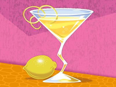 Lemon Drop happy hour lemon lemon drop mixed drink design illustration