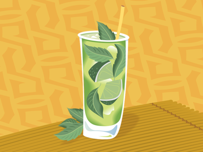 Mojito mint leaves mint lime rum happy hour mixed drink mojito design illustration