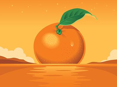 Tangerine Sunset fruit sunset ocean tangerine design illustration