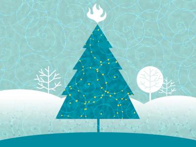 Holiday Card winter snow christmas tree holiday branding design illustration