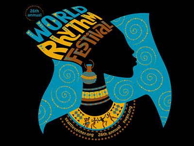 Festival artwork development dancing shekere screen printed festival african music music festival screen printing flat vector branding illustration design