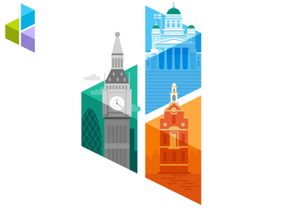 D3 logo - Cities helsinki boston vector logo branding illustration design