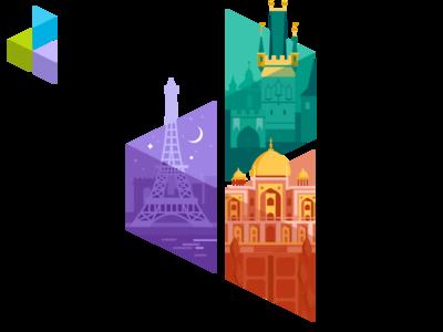D3 logo - Cities paris prague india flat logo vector branding illustration design