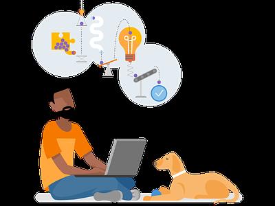 Asp.Net Core imagination microsoft visualstudio flat vector branding illustration design