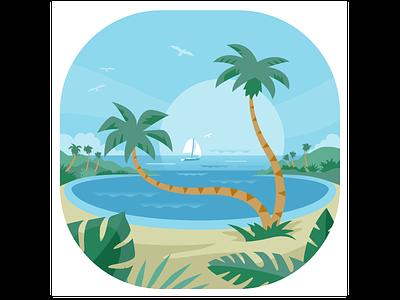 Dream Palms vector illustration flat tropical beach vacation sailboat palms. palm trees dream