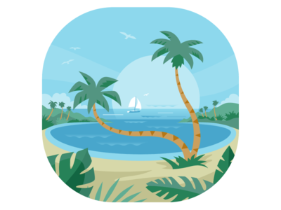 Dream Palms vector illustration flat tropical beach vacation sailboat palms. palm trees dream