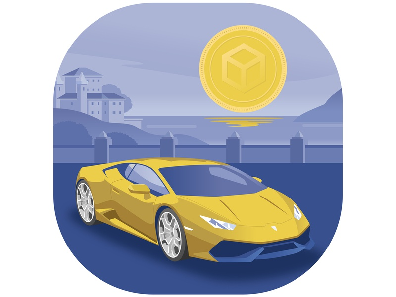 Dream Of The Crypto Newbie cryptocurrency moon lamborghini crypto ux ui flat logo branding vector illustration design