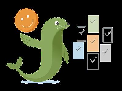 customer experience sealife customer service customer financial seal ux logo flat branding vector illustration design