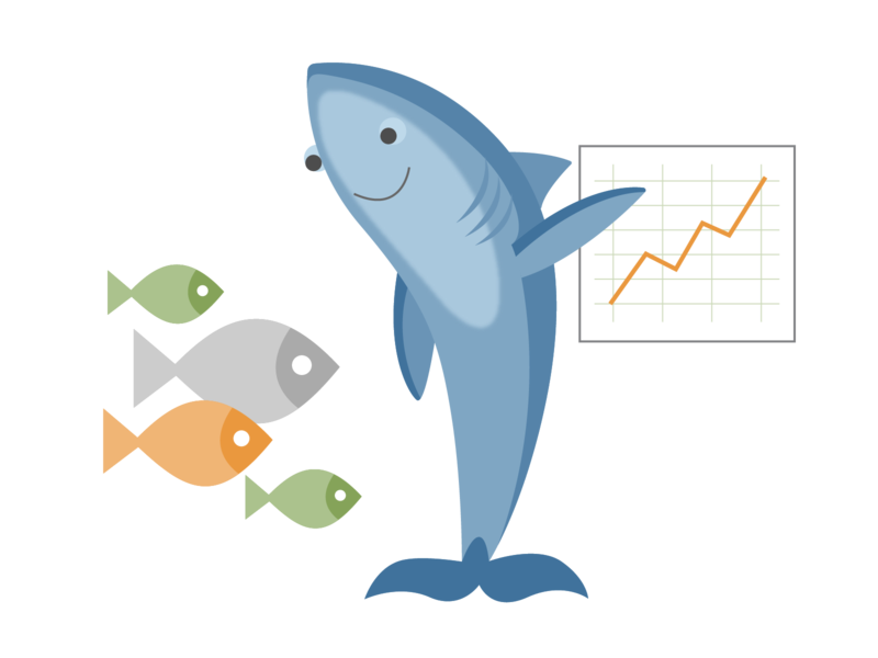 enterprise sales instructor teacher fish school of fish sealife shark icon ui ux logo flat branding vector illustration design