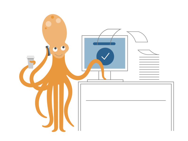 billing software business billing sealife octopus icon ui ux logo flat branding vector illustration design