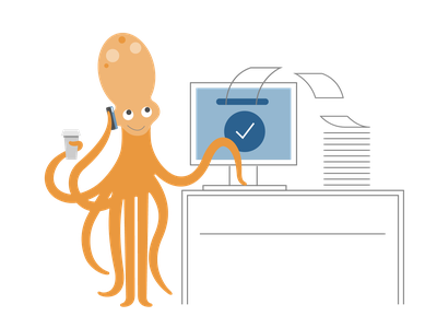 billing software business billing sealife octopus icon ui ux logo flat branding vector illustration design