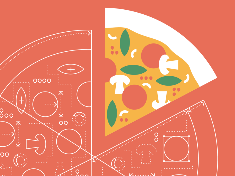 OKR poster – if devs built a pizza visual studio pizza microsoft logo ui ux flat branding vector illustration design