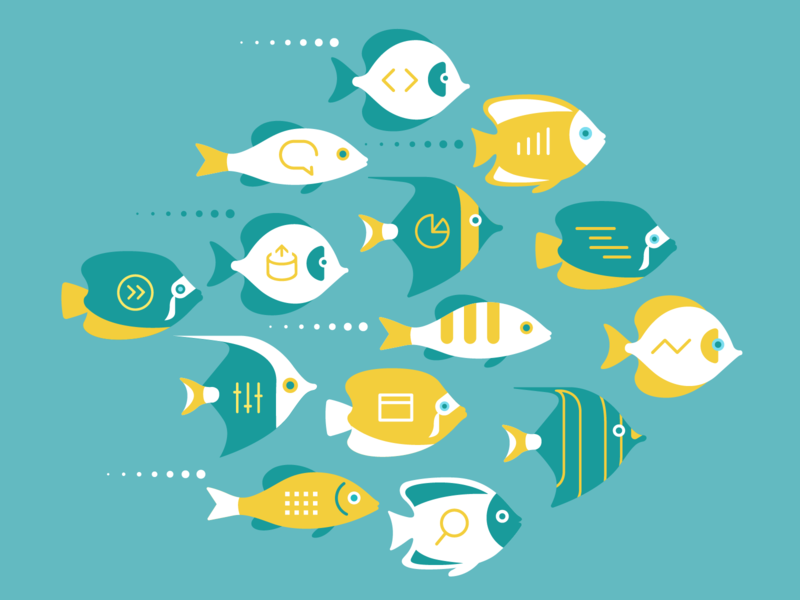 OKR poster – diverse,  effective,  happy teams sealife fish visual studio microsoft ui ux logo flat branding vector illustration design