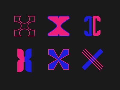 X-ploration dribbble icon branding icons illustration logotype set lettermark logo abstract logomark typography flat vector